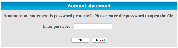 bank statement password prompt