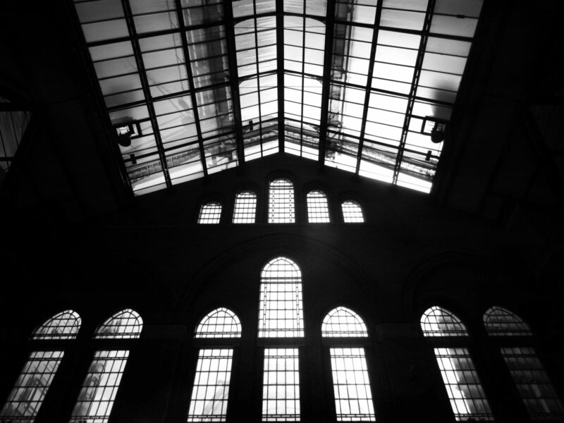 building with a glass ceiling