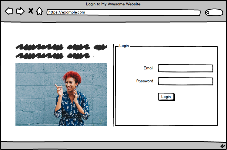login form at left, model pointing to right