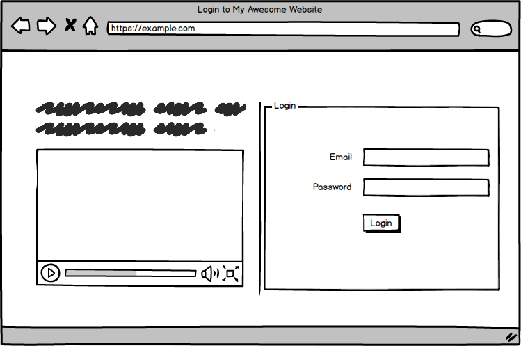 login form at right with a video at left