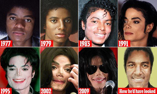 michael jackson face transformation over the years